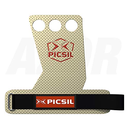 PICSIL AZOR Grips 3H - Calleras para Crossfit Grips Gymnastics, Pullups, Weight Lifting, Chin Ups Protect Your Palms. Talla M. Color Blanco.