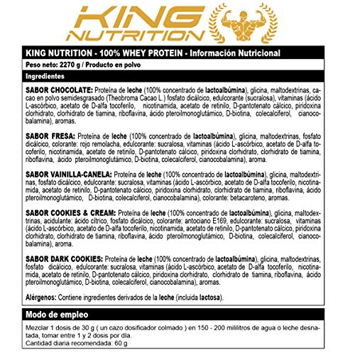 100% Whey Protein 2,27 kg King Nutrition Proteina Concetrada 80% Cookies & Cream