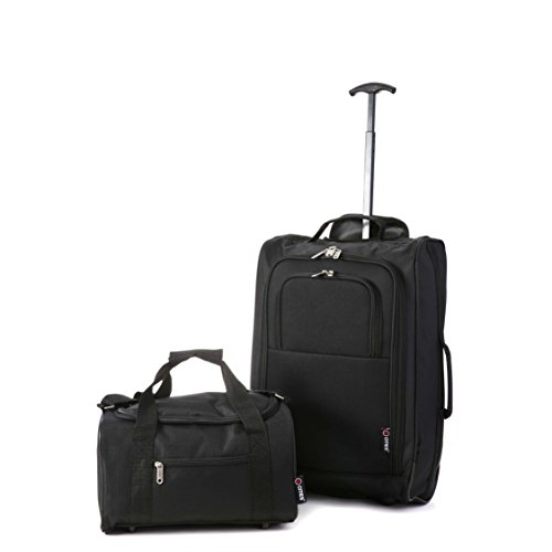 5 Cities Ryanair Cabin Approved Main & Second Hand Luggage Set - Carry On Both! Equipaje de mano, 55x35x20cm, 42 liters, Negro (Black)